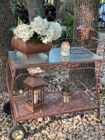 Vintage Tea Cart in Copper Rustoleum Spray Paint
