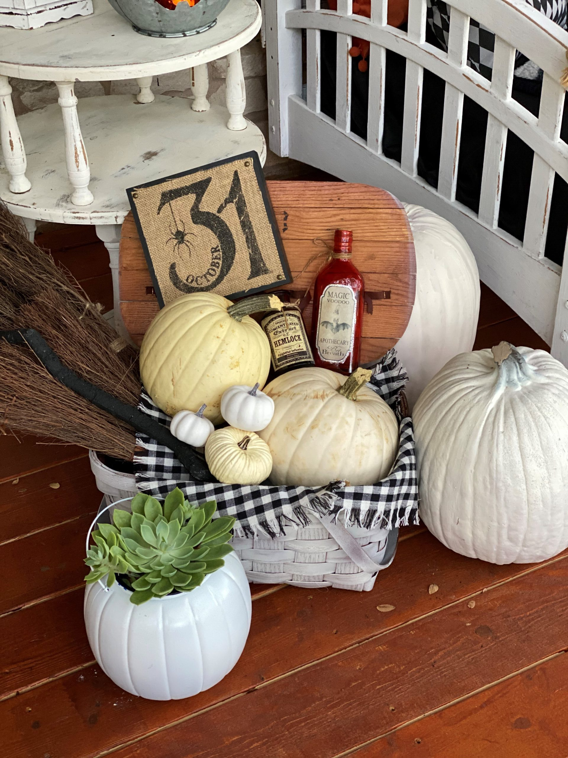 Halloween Front Porch Decorations, Vintage Rustic Front Porch, White Pumpkins, Witches Broom, October 31