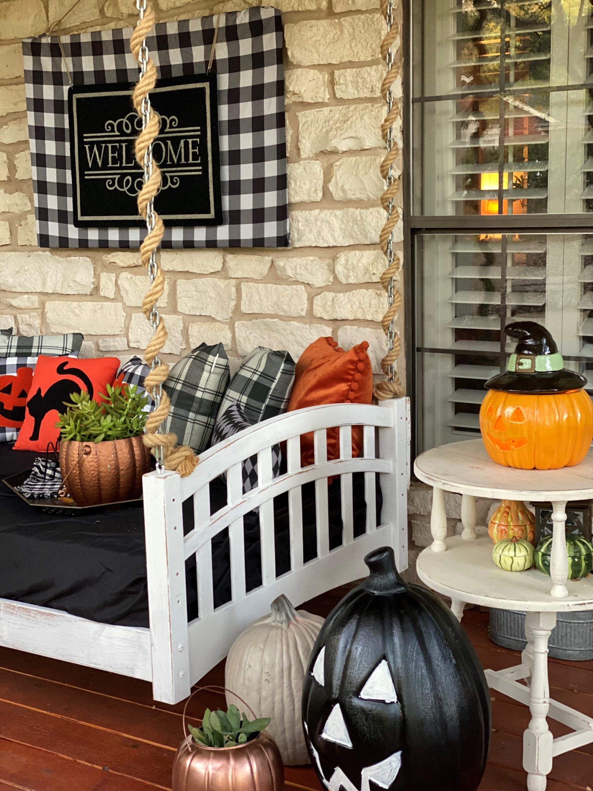 Halloween Front Porch Decorations, Vintage Rustic Front Porch, Black and White Decorations, Black and White Buffalo Check, Welcome Sign