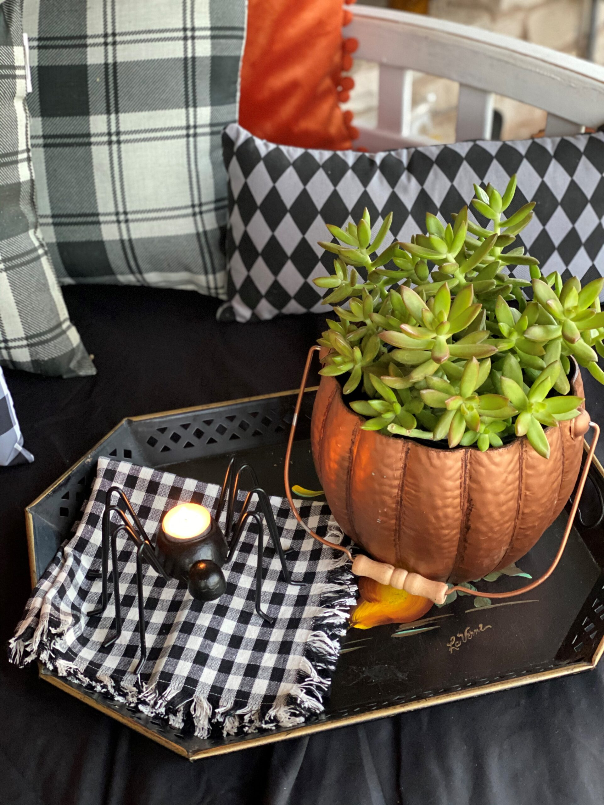 Halloween Front Porch Decorations, Vintage Rustic Front Porch with Spider Candle and Pumpkin Succulents
