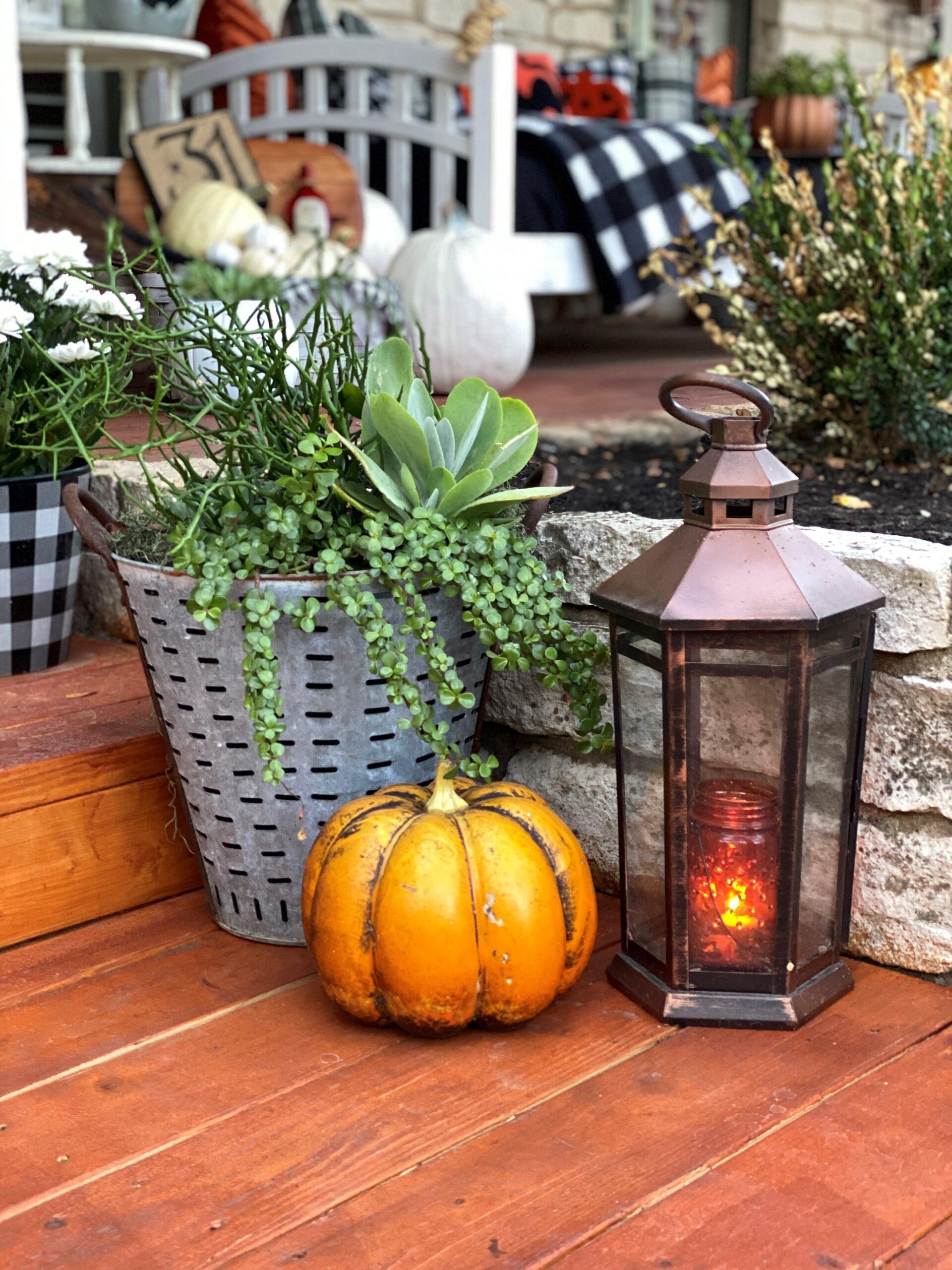 Halloween Front Porch Decorations, Vintage Rustic Front Porch, Rustic Galvanized Metal Pot, Pumpkins, Copper Lantern