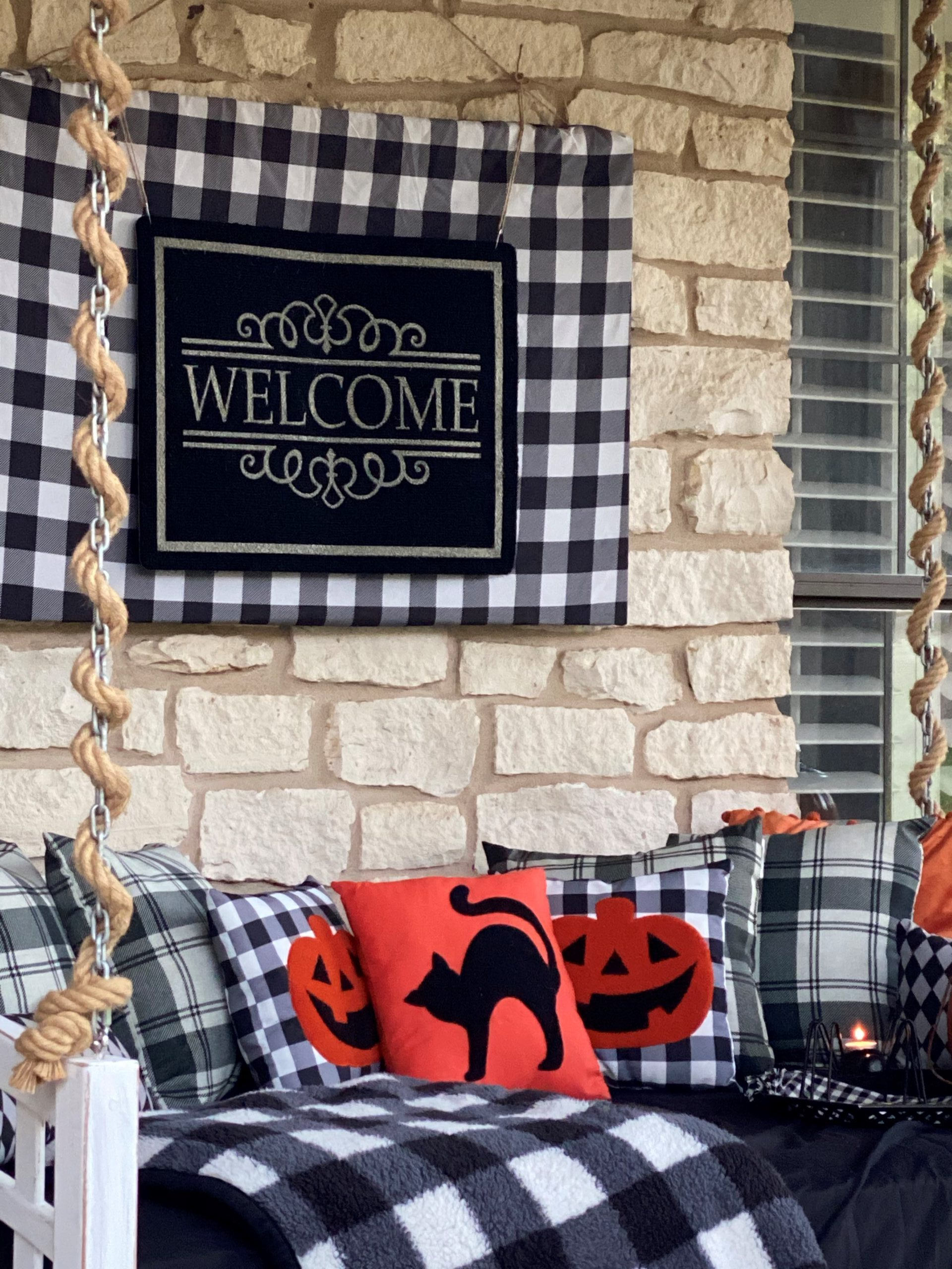 Halloween Front Porch Decorations, Vintage Rustic Front Porch, DIY Welcome Sign, Black and White Buffalo Check, Halloween Pillows